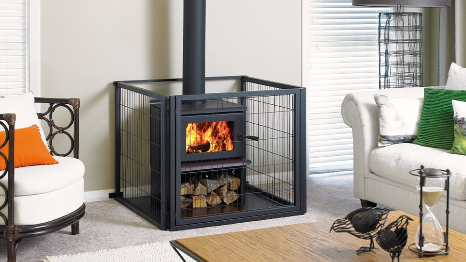 The Kent Oxford is shown here with a floor protector and fireguard.