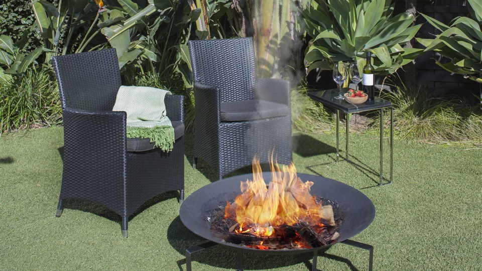 The Fletcher Cast Iron Fire Bowl is a popular outdoor solid fuel fire.