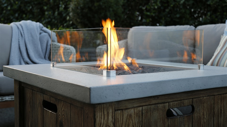 The Helm fire table adds warmth to any outdoor area.