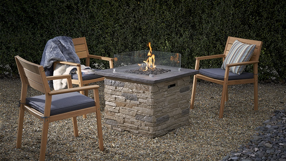 The Keystone Gas Fire Table has a composite stone design construction.