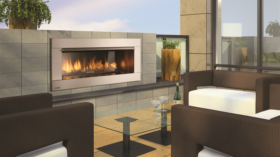 The Regency HZO42 Gas Outdoor Fireplace adds luxury to any outdoor area.