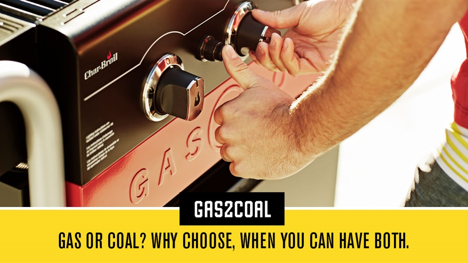 Char-Broil offer the best of both worlds with a Gas2Coal Hybrid BBQ.