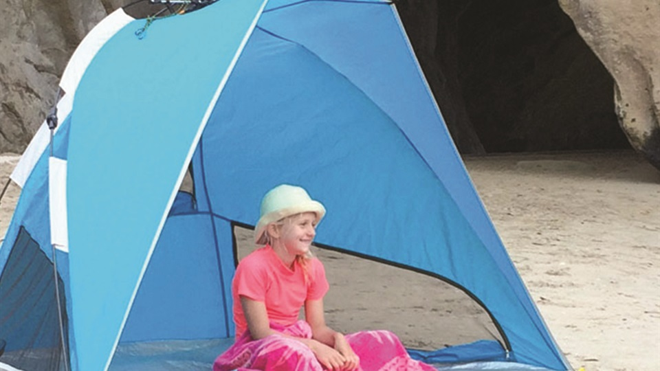 Ezi-up beach shelters are lightweight and essential to keeping your family safe from the sun.